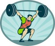 Weightlifter que levanta pesos pesados Imagen de archivo libre de regalías