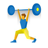 Weightlifter rise barbell. Martial arts competition Royalty Free Stock Images