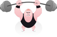 Weightlifter straining under his weights Stock Images