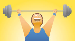 Weightlifter strength / Body building. Cartoon illustration of a body builder Stock Photo