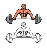 Weightlifter. Strong man with a heavy steel bar Royalty Free Stock Image