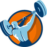 Weightlifter Swinging Barbell Back View Circle Retro Royalty Free Stock Image