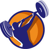 Weightlifter Swinging Barbell Rear Circle Retro Stock Photo