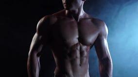 Weightlifter toont zijn lichaam, sterkte en duurzaamheid aan Zwarte rookachtergrond Langzame Motie Sluit omhoog stock video