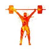 Weightlifter. Watercolor splash paint Stock Photos