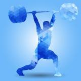 Weightlifter z barbell Czysty & szarpnięcie trójbok royalty ilustracja