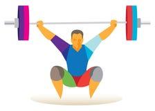 Weightlifterhurkzit met de bar tijdens de lift in snatch Royalty-vrije Stock Afbeelding