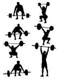 Weightliftersilhouetten Stock Afbeelding