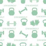 Αθλητικό άνευ ραφής σχέδιο Εξοπλισμός Weightlifting διανυσματική απεικόνιση