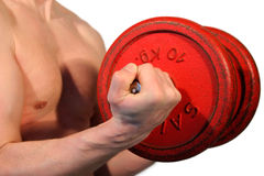Weightlifting. Man lifting weights Royalty Free Stock Image