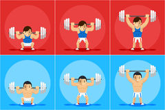 Weightlifting animation frames Stock Photos