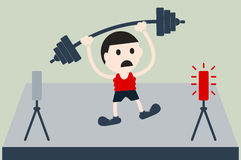 Weightlifting athlete is lose Stock Images