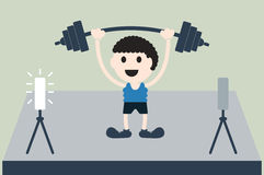 Weightlifting athlete is win Stock Photo