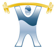 Weightlifting barbell icon. Strong weightlifting barbell illustration icon Stock Image