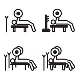 Weightlifting bench press icon in four variations. Vector illustration. Stock Photography