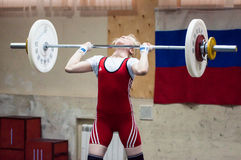 Weightlifting competing girls Royalty Free Stock Photos