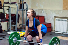 Weightlifting competing girls Stock Image