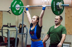 Weightlifting competing girls Stock Photo
