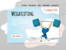 Weightlifting competition, man lifting heavy barbell over his head. Vector illutration in abstract flat style, design. Weightlifting competition. Man lifting Stock Image