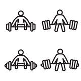 Weightlifting deadlift icon in four variations. Vector illustration. Stock Images