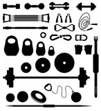 Weightlifting equipment. Set of silhouettes of the equipment for weightlifting Royalty Free Stock Images
