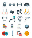 Weightlifting flat vector icons set. Bodybuilding exercises equipment pictograms. Weight lifting training objects. Powerlifting gym workout elements. Healthy Stock Image
