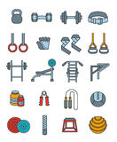 Weightlifting flat vector thin lines icons set Stock Photos