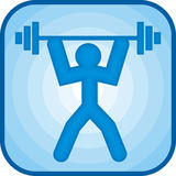 Weightlifting icon. In blue square Stock Photography