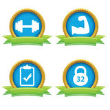 Weightlifting icons set Stock Image