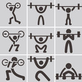 Weightlifting icons Royalty Free Stock Photos