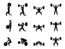 Weightlifting ikony set Obraz Stock