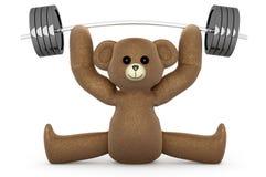 Weightlifting miś pluszowy Zdjęcie Royalty Free