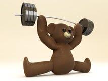 Weightlifting miś pluszowy Obraz Royalty Free