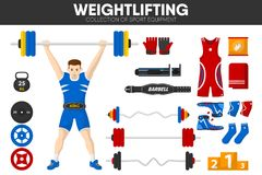 Weightlifting sport gym equipment weightlifter man garment accessory vector icons set. Weightlifting sport gym equipment and weightlifter man accessories and Stock Photography