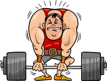 Weightlifting sportsman cartoon illustration Stock Images