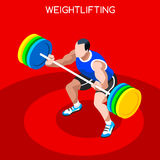 Weightlifting Summer Games Icon Set.3D Isometric Weightlifter Athlete.Sporting Championship International Competition Royalty Free Stock Photo