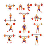 Weightlifting and workout exercise in gym. Vector set of gym icons in flat style isolated. Royalty Free Stock Photos