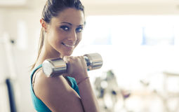 Weightlifting workout at gym Stock Image