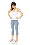Weightloss缩放比例妇女 库存照片