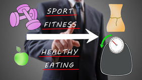 Weightloss concept shown by a businessman. In background Royalty Free Stock Images