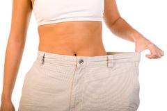 Weightloss Proof. Closeup of midsection of female showing weightloss Royalty Free Stock Images