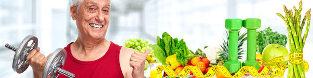 Weightloss senior man stock image