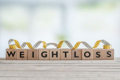 Weightloss sign with measure tape Royalty Free Stock Photography