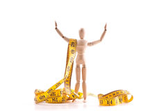 Weightloss Success Concept. With Wooden Dummy Stock Photography