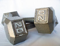 Weights. Photo of 20-pound weights Stock Photos