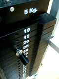 Weights. Of a stationary machine on a gym Royalty Free Stock Photography