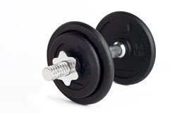 Weights. A dumbbell consisting of two disks of weights, isolated object on a white background Royalty Free Stock Photo