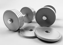 Weights. In a sports hall Stock Photo