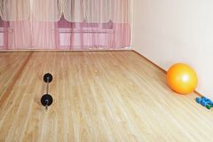 Weights and ball. On a gym floor. Horizontal shot Stock Photography