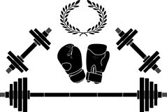 Weights and bixing gloves Royalty Free Stock Images